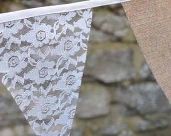 Rustic Lace and Burlap Bunting
