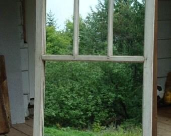 "Rustic mirror , antique window frame mirror , large farmhouse mirror 45""1/2 x 27""1/2 ,Beautiful authentic finish"