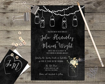 Printable or Printed Chalkboard Floral Rustic Calligraphy Wedding Invitation \\ RSVP Card Save the Date Card \\ 5 x 7 Invitation Kit \\