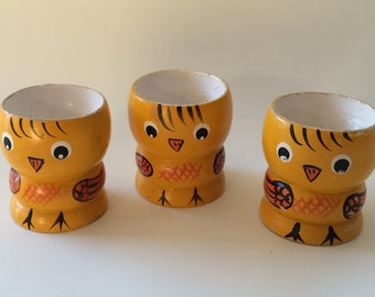 Vintage Yellow Wood Chick Egg Cup X 3