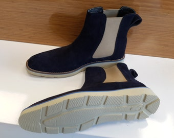 Handmade Special Design Luxury Navy Blue Costume Mens Shoes