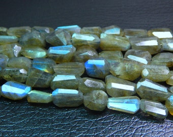 Labradorite Blue Flash Faceted Tumble Beads 100% Natural Gemstone Size 13.3x8.5 mm Approx Code - 0349