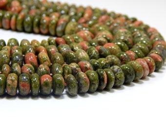 55 Percent OFF Unakite Rondelle Beads 100% Natural Gemstone Size 8.9x8. mm Approx Code - 0371