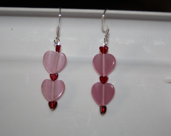 Pink & Red Glass Heart Earrings