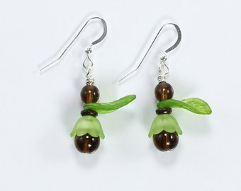 Topaz, Natural Bamboo & Acrylic Earrings, Green and Brown Earrings