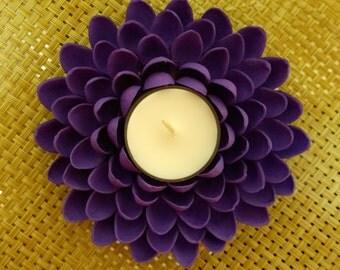 Cute Tealight Candle Holder - Pistachio Shell Flower - Purple