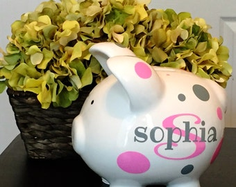 Personalized Custom Large Piggy Bank Dots
