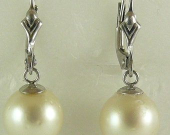 South Seas Creamy White 9.4mm x 9.8mm Pearl Earrings 14k White Gold Leverback