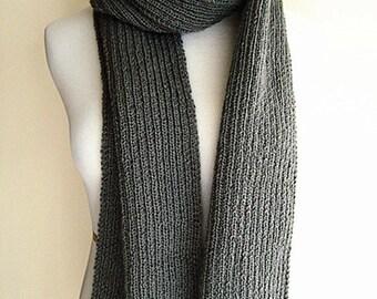 100% Australian Wool Hand Knit Scarf (Gray 0007)