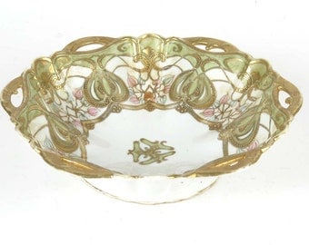 "Noritake Nippon bowl hand painted gold trim beaded 10.75"" china moriage RC"