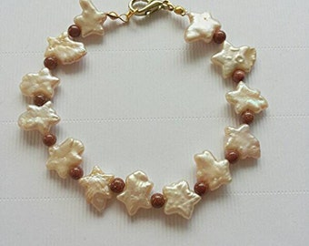 Freshwater cultured pearl bracelet and Sunstone