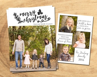 CHRISTMAS PHOTO CARD | For Unto Us A Child Is Born | Christmas Cards | Holiday Cards