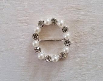 Crystal Pearl Buckle Slider - wedding, invitations, crafts