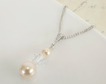 Pearl & Crystal Pendant Necklace, Pearl Crystal Bridal Pendant Necklace, Silver Triple Pearl Crystal Pendant Necklace, Ivory or White