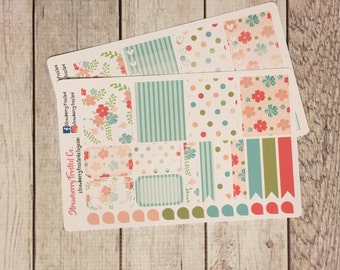 Shabby Chic Floral Themed Planner Stickers - Made to fit Vertical Layout