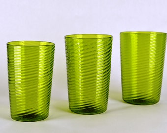 Hand Blown Glasses set of 3 Green spiral (stackable)