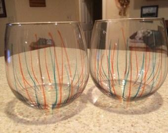 Blue and Orange Stemless Wine Glasses Syracuse University Blue Wine glass Orange wine glass painted wine glass stemless wine glass