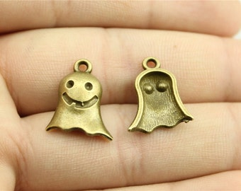 6 Ghost Charms, Antique Bronze Tone (1G-197)