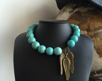 Wings and Turquoise Necklace