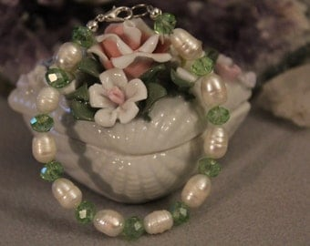 Large 8mm x 10mm Fresh Water Pearl with Green Austrian Crystal Rondelles