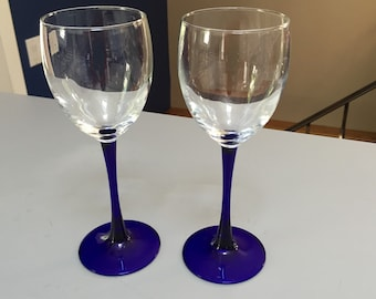 Wine Glasses, Cobalt Blue Glass Stems - Pair