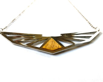 Geometric wood stainless steel necklace