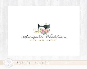 Sewing Logo Rose Logo Design Sewing Machine Logo Fashion Logo Rustic Logo Fabric Logo Shabby Chic Logo Watermark
