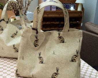 Hare Oilcloth bag - Shopping Bag - Market  Bag - Shoulder Bag - Expendable Shopper - Handbag - Hare Bag - Oilcloth Tote - Gift For Mom - Bag