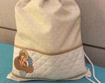 kindergarden bag-embroidered Angel on cloud imitation thun-ivory
