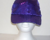 Purple Sequined Rave Disco Baseball Style Hat Cap Adjustable Sz S - XXL for Cosplays, Dance, Raves, Theater, Parties, PokemonGo Teams, Etc