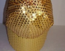Gold Sequined Rave Disco Baseball Style Hat Cap Adjustable Sz S - XXL for Costumes, Dance, Raves, Theater, Parties, PokemonGo Teams