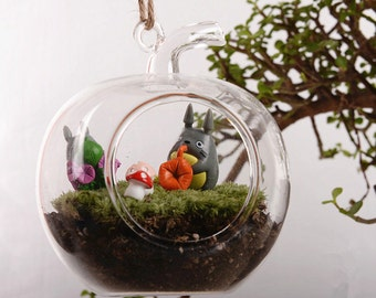 Apple shaped Glass Plant Terrarium//Hang Succulent Planters//Air Plant Holders//Indoor Gardening