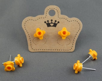 LEGO Earring Stud - Orange Flower