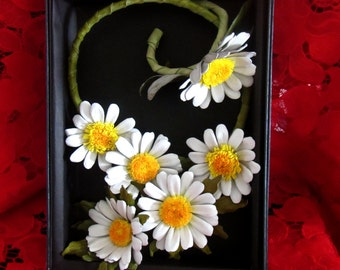 Leather necklace Daisy, necklace Chamomile, necklace and bracelet set Daisy, Chamomiles Necklace leather, Daisy leather necklace and bracele