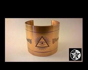 Large Copper Engraved Illuminati Wristband Cuff Bracelet
