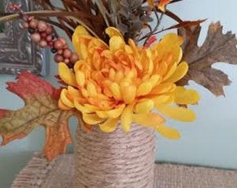 Autumn Floral arrangement in Twine Jar