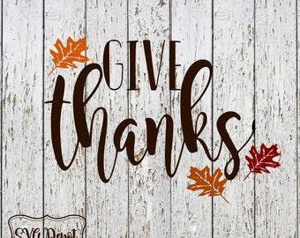 Give thanks svg, Pumpkin svg,  1 svg file, fall svg, fall leaves svg, monogram svg, svgcut file