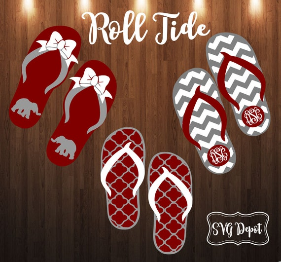 alabama flip flops svg file roll tide svg chevron flip flops