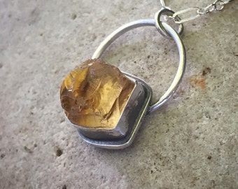Citrine Pendant, Necklace, Golden, November Birthstone, Raw Crystal, Sterling Silver Pendant