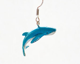 Blue whale earrings - Polymer clay earrings - cute animals jewelry