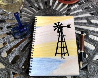 Hand Painted Spiral Journal; Wire Bound Blank Notebook; Writing Journal; Small Sketchbook; Unique Gift; Windmill Silhouette