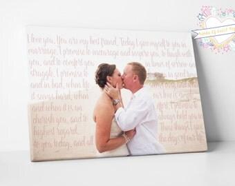 Wedding Vows Art - 1st Anniversary Gift - 1st Anniversary Gift For Wife - First Anniversary Gift For Wife - Wedding Vow Canvas - Wedding Vow