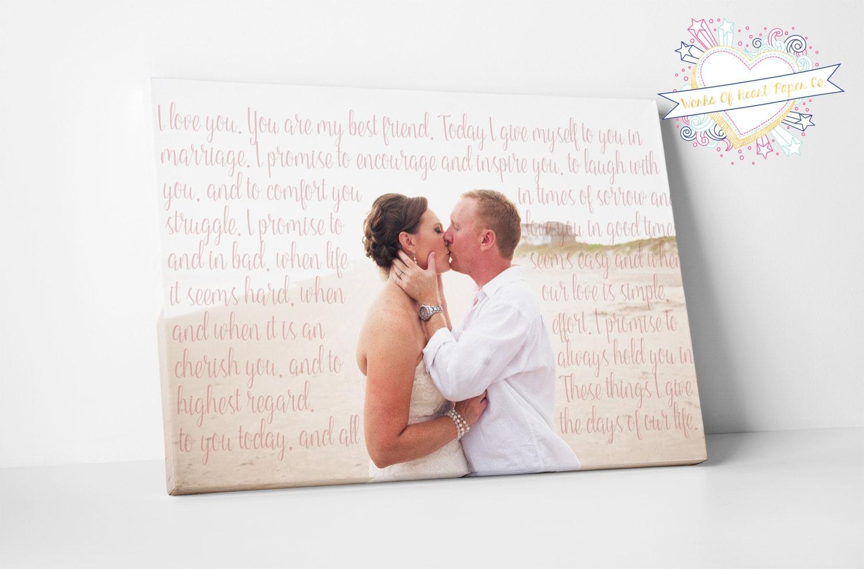 Wedding Vows Gift: First Anniversary Gift Wedding Vow Canvas Wedding Vows