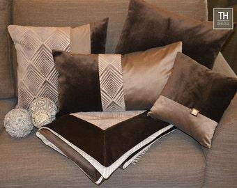 """Dark Brown Velvet Pillow Cover, Brown Velvet Cushion Cover , Velvet & Taffetas Decorative Pillow Made in Italy, Housewares , 20 x 20"""""""