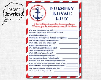 Nautical Nursery Rhyme Quiz Baby Shower Game, Nautical Baby Shower Printable, Baby Rhyme Quiz Anchor Baby Shower Printable, Instant Download