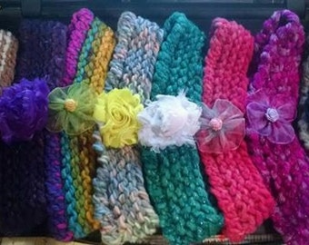 Handmade Loom Knitted Baby Headbands Set of 4 - You pick the color