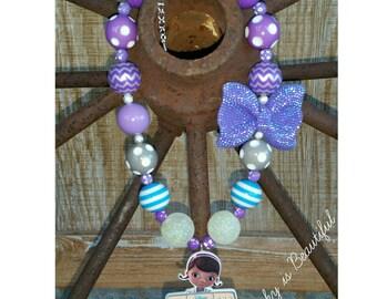 Doc McStuffin chunky necklace purple blue  Doc McStuffin chunky necklace