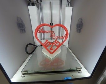 3D Printed Heart with Customized Names & Date