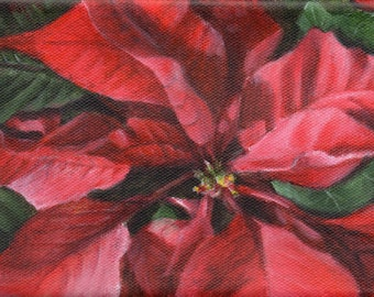 Poinsettia Print, Limited Edition Giclee Holiday Art from an Original Painting by Debbie Shirley