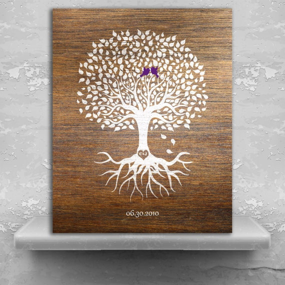 Traditional Wedding Gift For 6th Anniversary : 6th Anniversary Personalized Wedding Tree Faux Wood Minimalist Tree ...